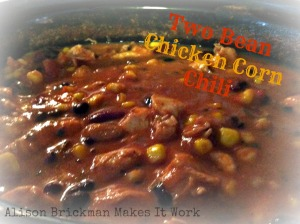 two bean chicken corn chili close up