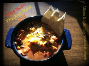 two bean chicken corn chili in bowl